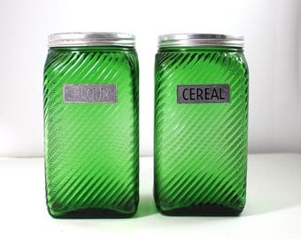 Owens Illinois Canister set in Emerald Forest Green -  Flour and Cereal