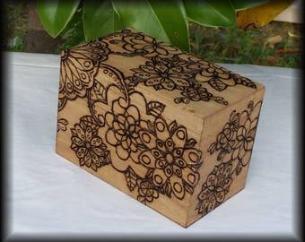 Flower/ Henna Style Recipe Box, Tarot Box, Keepsake Box