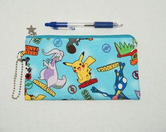 "Padded Zipper Pouch / Pencil Case / Cosmetic Bag Made with Cotton Oxford Fabric ""Pokemon"""