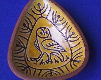 Vintage Studio Pottery Sgraffito Owl Dish