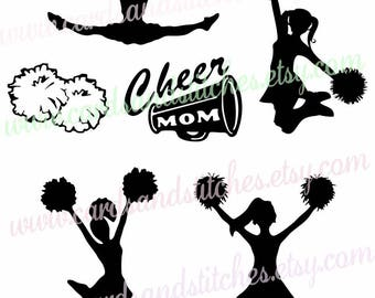 Cheerleaders SVG - Cheer Silhouette SVG - Pom Poms SVG - Digital Cutting File - Cricut Cut - Instant Download - Svg, Dxf, Jpg, Eps, Png