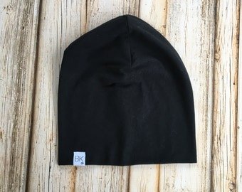 Black Organic Bamboo Slouch Beanie- Infant to Adult sizes
