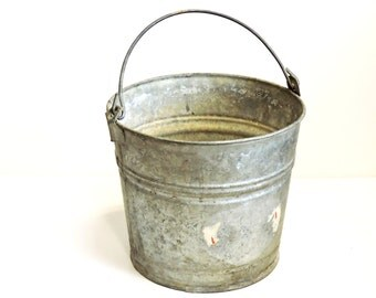 Old Glavanized Bucket, Water Tight Vintage Farm Pail with Patina, Upcycle Rustic Garden Planter, Farmhouse Home Decor itsyourcountry