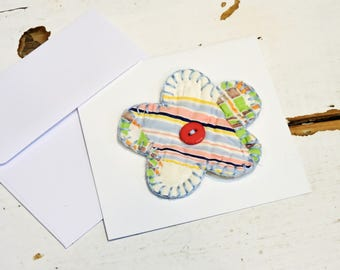 Patchwork Flower Note Card, Original Spring Prim Quilted Mothers Day Pin, Reusable Prim Easter Corsage, Housewarming Gift itsyourcountry