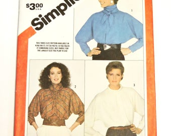 Vintage Simplicity 6070 Blouse Sewing Pattern, Misses Sz 8,10,12 Pullover Dolman Sleeve Blouse,High Modest Neckline Bow Uncut itsyourcountry