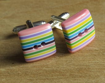 stripy button silver plated cufflinks