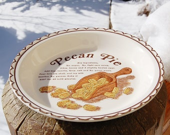 Pecan Pie Recipe Plate Ceramic