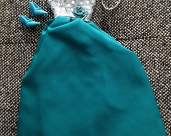 Handmade Formal Barbie Dress, Teal Green