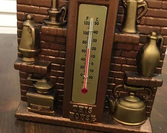 vintage chalkware kitchen thermometer miller studios bless this house