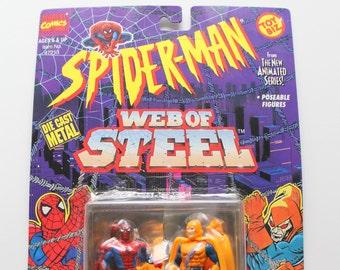 Vintage Toy Biz Spiderman Web of Steel Die-Cast Metal Spiderman vs Hobgoblin 1994 NIB