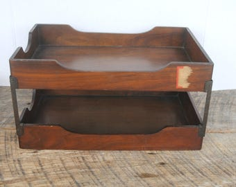 Vintage Office Desktop Wood Stacked In Out Tray Set