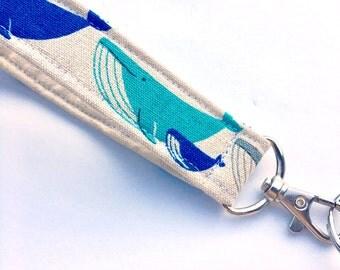 Whale Keychain, Key Fob, Wristlet Lanyard, Fabric Wristlet, Linen