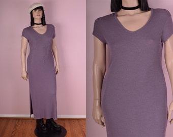 90s Purple Ribbed Knit Maxi Dress/ Large/ 1990s