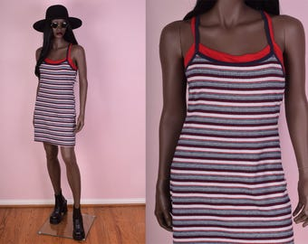 90s Striped Tank Dress/ Medium/ 1990s/ Sleeveless/ Sporty