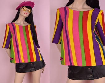 60s 70s Colorful Striped Top/ Medium/ 1960s/ 1970s/ Short Sleeve