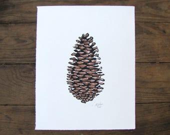 Forest Tree Linocut Watercolor Print - SALE