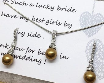Bridesmaid jewelry set, Bridesmaid gift, bridesmaid necklace, bridesmaid earrings, Wedding jewelry set , Gold pearl necklace earrings
