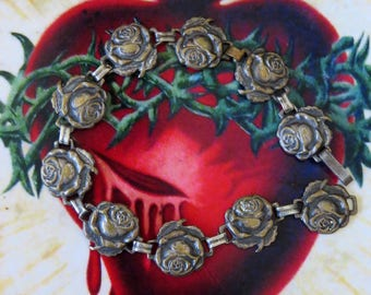 "Vintage Bronze Toned Roses Saints Miraculous Medal 7.2"" Bracelet- Beautifully unique and old"