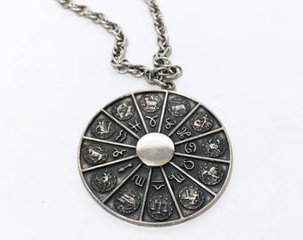 Vintage 70s NAPIER Zodiac Pendant Necklace + Silvertone Metal Medallion Necklace + Signed Costume Jewelry + Astrology + Astrological Sign