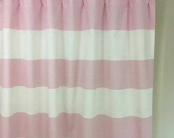 Bella Pink White Horizontal Stripe Cabana Curtains  Rod Pocket  63 72 84 90 96 108 or 120 Long x 24 or 50 Wide,