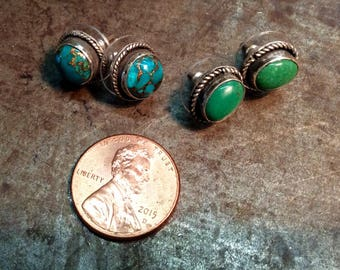 Real Arizona Copper Turquoise or real green Turquoise stone in Sterling Post Stud Setting with Rope detail