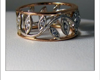 Simon G 18k Rose Gold Floral Wide Eternity Pink Diamond Wedding Band