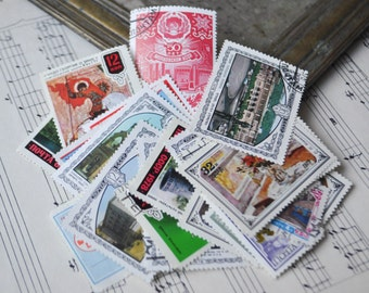 Mix of Vintage Soviet Russian postage stamps.