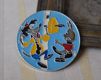 "Vintage Soviet Russian badge,pin. ""Soviet Cartoon Characters-Nu Pogodi"""