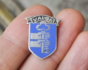 """Vintage Estonian enamel badge,pin.""""Valga"""""""