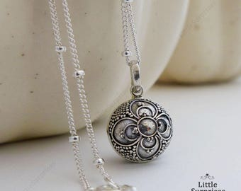 12mm Lucky Clover Harmony Ball Sterling Silver Pendant Chain Necklace LS94