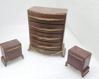 Plasco Vanity Highboy Dresser and Bed tables  Toy Dollhouse Traditional Style 1944 Brown  Drawers open Bedroom furniture