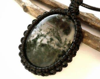 Moss Opal necklace, hippie necklace, macrame necklace, moss opal jewellery, Healing necklace, moss agate necklace, boho necklace