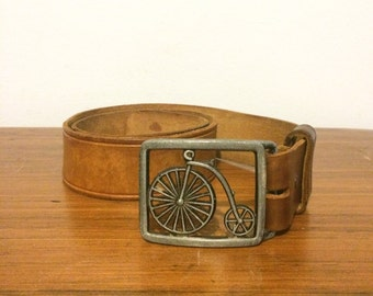 Vintage Bicycle Belt Buckle / High Wheel Penny Farthing Antique Bike Buckle w/ Leather Belt