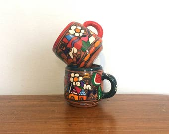 Vintage Mexican Folk Art Mugs / Peruvian Handpainted Coffee Cups / Set of Two