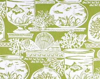"""Two  Custom Lined  Kitchen Cafe Curtains   30""""L x 25""""W  - Beach Sealife Fish - Lime Green"""