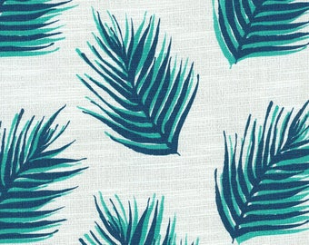 Two 96 x 50 Custom LINED Curtain Panels  -  Nate Leaves - Blue Turquoise