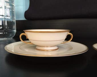 Gold Band Franciscan Encanto Coupe Cream Soup Bowls and Plates (2 sets) salad  dessert bread plates