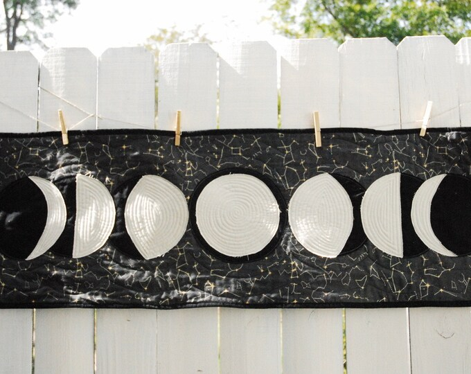 Moon Phases Wall Hanging, Organic Cotton, Wall Hanging, Moon Phases Banner, Table Runner, Ethical Home Decor