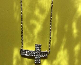 Rhinestone Sideways Cross Necklace