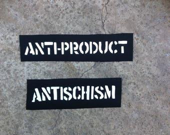 Antiproduct antischism black anarcho punk band sew on patches lot of 2