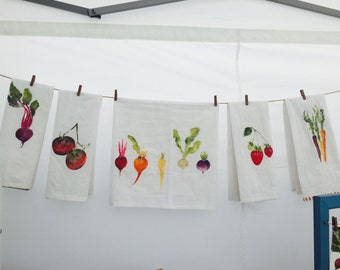 Hand painted fruit and vegetable tea towel