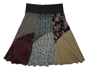 Boho Hippie Women's Small Medium Skirt upcycled recycled t-shirt clothing from Twinkle