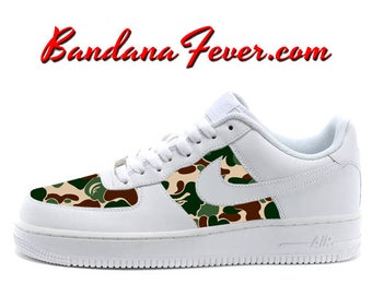 Custom Bape Camo Nike Air Force 1 Shoes White Low, FREE SHIPPING, #bape, #camo, #camouflage, #fashion, #Nike #Shoes, by Bandana Fever