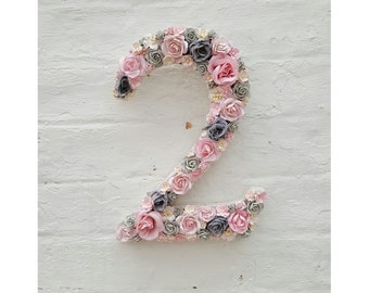 Flower Number Floral Number Pink and Grey Flowers Personalised Decorative Number 1st birthday Party Decor Nursery Wall Art