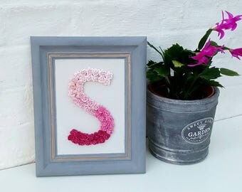 Pink Ombre Framed Flower Letter Floral Letter Pink Flowers Personalised Wall Hanging Letter Initial Monogram Nursery Decor Baby Shower Art