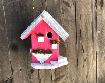 Outdoor Birdhouse Unique Rustic Wooden Bird House For Garden Birds, Whimsical Handmade Primitive Painted Birdhouses, Item #513913558