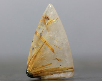CLEARANCE Gold Rutile Quartz Gemstone Cabochon Rutilated Golden Inclusion Wire Wrap Bezel Set Embroidery Crafting Natural Stone (CA6356)