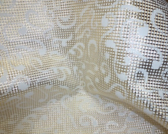 "Sale 57% off Leather 8""x10"" PLATINUM Metallic Net on WHITE RENAISSANCE Scroll Cowhide 3 oz / 1.2 mm PeggySueAlso™ E6100-06"