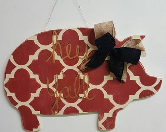 Pig Door Hanger - pigs decor door hanger door decor pig door hanger wreath farm door hanger