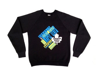 Licensed 1989 Toronto Maple Leafs Neon 50/50 Crewneck Sweatshirt - L